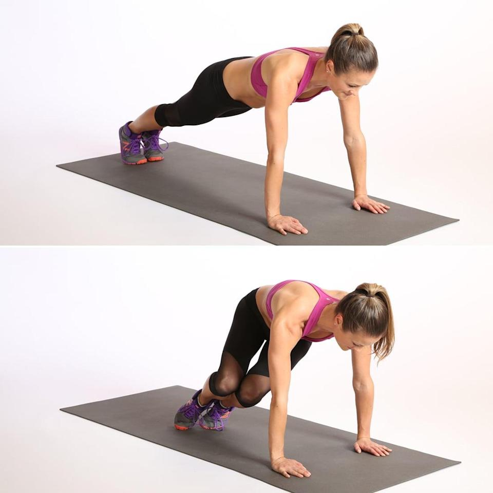 <ul> <li>Begin in a high plank position, arms directly under your shoulders and feet touching. Pull your core in toward your spine.</li> <li>Jump your feet toward your right side, landing softly and bringing your knees toward your right elbow. Your torso will twist to the right. Keep your core engaged and your wrists directly under your shoulders throughout the movement.</li> <li>Jump your feet back to plank, landing softly.</li> <li>Repeat on the other side.</li> <li>This counts as one rep. Complete as many reps as you can with proper form in 20 seconds.</li> </ul>