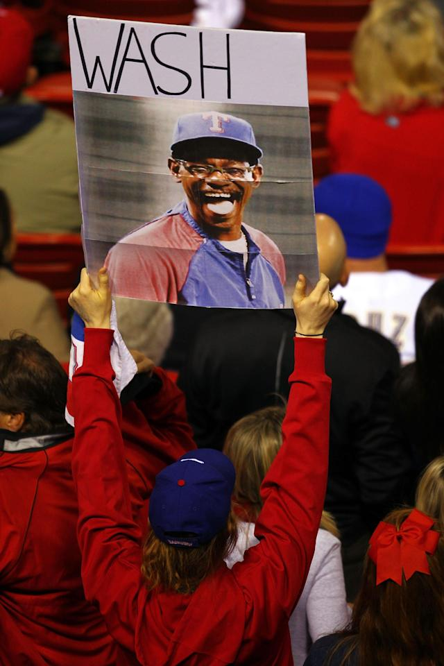 ST LOUIS, MO - OCTOBER 28: A Texas Rangers fan holds up a sign of manager Ron Washington during Game Seven of the MLB World Series against the St. Louis Cardinals at Busch Stadium on October 28, 2011 in St Louis, Missouri. (Photo by Dilip Vishwanat/Getty Images)
