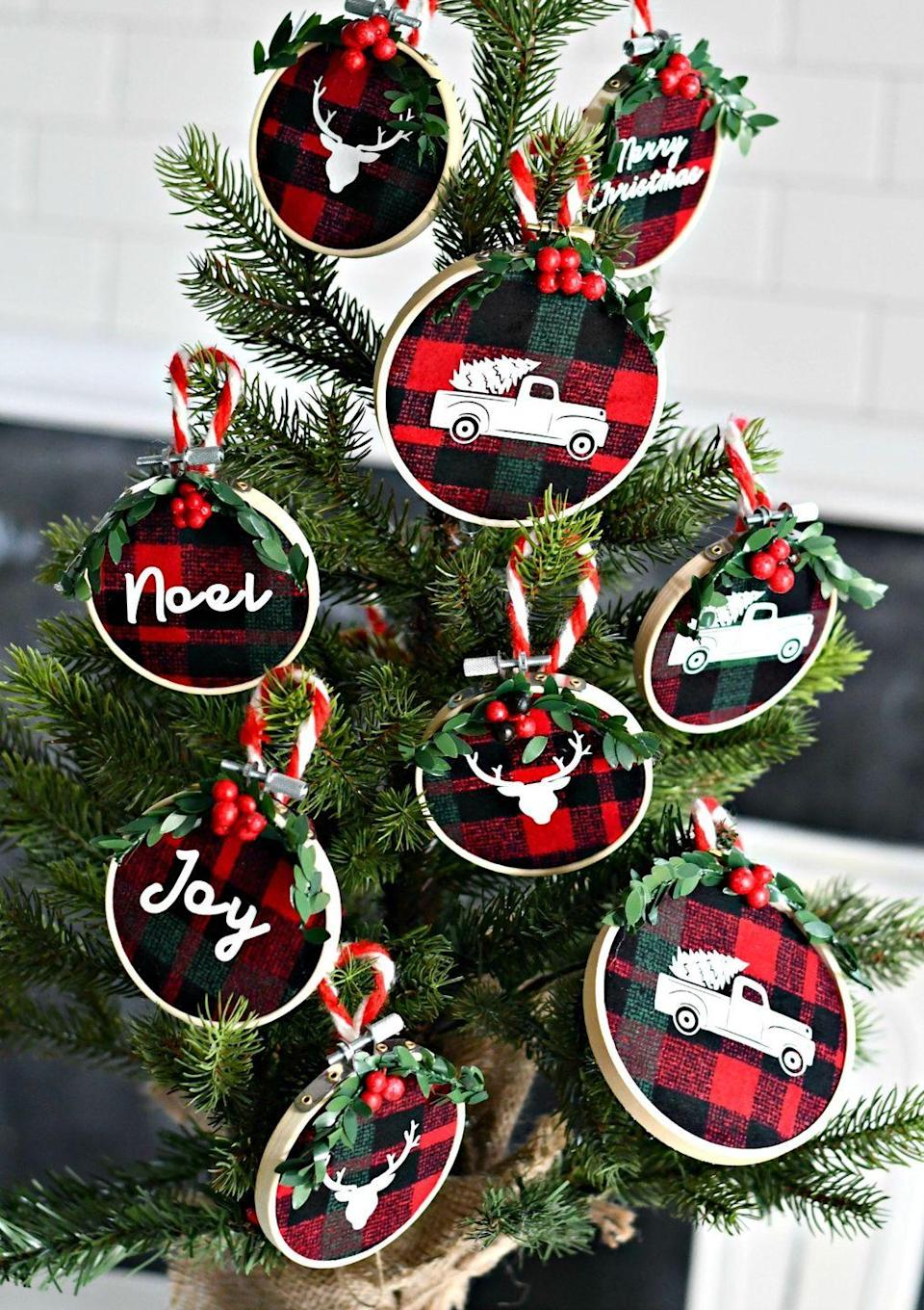 "<p>There's something about flannel that has the word ""Christmas"" written all over it—so what better fabric to incorporate into your ornaments? For another rustic touch, add your favorite iron-on decals.</p><p><strong>Get the tutorial at <a href=""https://hip2save.com/diy/diy-embroidery-hoop-christmas-ornaments/"" rel=""nofollow noopener"" target=""_blank"" data-ylk=""slk:Hip2Save"" class=""link rapid-noclick-resp"">Hip2Save</a>.</strong></p><p><a class=""link rapid-noclick-resp"" href=""https://www.amazon.com/Robert-Kaufman-Mammoth-Flannel-Buffalo/dp/B0130EH33Y/ref=sr_1_3?tag=syn-yahoo-20&ascsubtag=%5Bartid%7C10050.g.1070%5Bsrc%7Cyahoo-us"" rel=""nofollow noopener"" target=""_blank"" data-ylk=""slk:SHOP FLANNEL FABRIC"">SHOP FLANNEL FABRIC</a></p>"