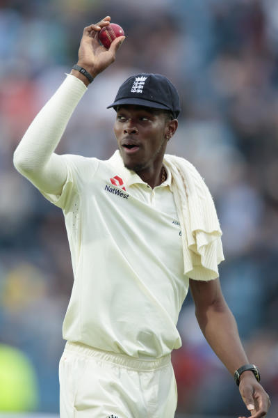 England's Jofra Archer celebrates after taking six wickets on the first day of the 3rd Ashes Test cricket match between England and Australia at Headingley cricket ground in Leeds, England, Thursday, Aug. 22, 2019. (AP Photo/Jon Super)