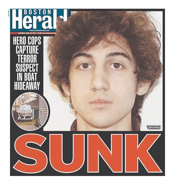 """Sunk."" Boston Herald, April 20, 2013."