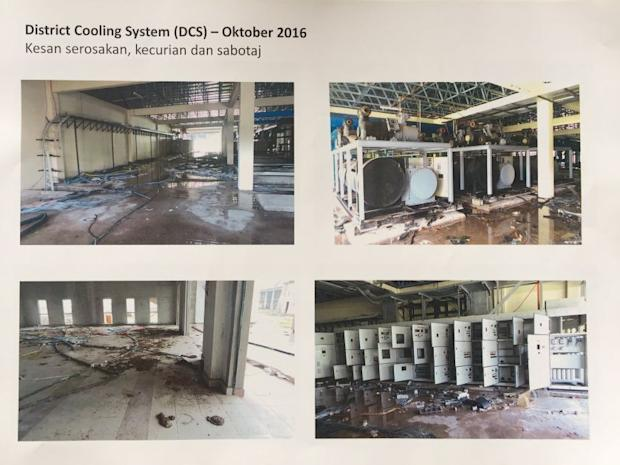 Photos showing damages to the district cooling system.