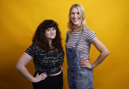 """Barbara Gray, left, and Tess Barker, co-hosts of the """"Britney's Gram"""" podcast, pose for a portrait, Thursday, July 15, 2021, at Earwolf podcast studio in Los Angeles. (AP Photo/Chris Pizzello)"""