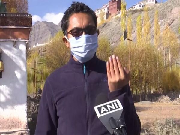 BJP Ladakh President and MP Jamyang Tsering Namgyal speaking to ANI on Thursday. (Photo/ANI)