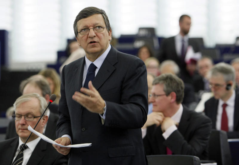 The President of the European commission Jose Manuel Barroso delivers his statement on how to combat the economic crisis, at the European Parliament Wednesday, April 18, 2012 in Strasbourg, eastern France.(AP Photo/Christian Lutz)
