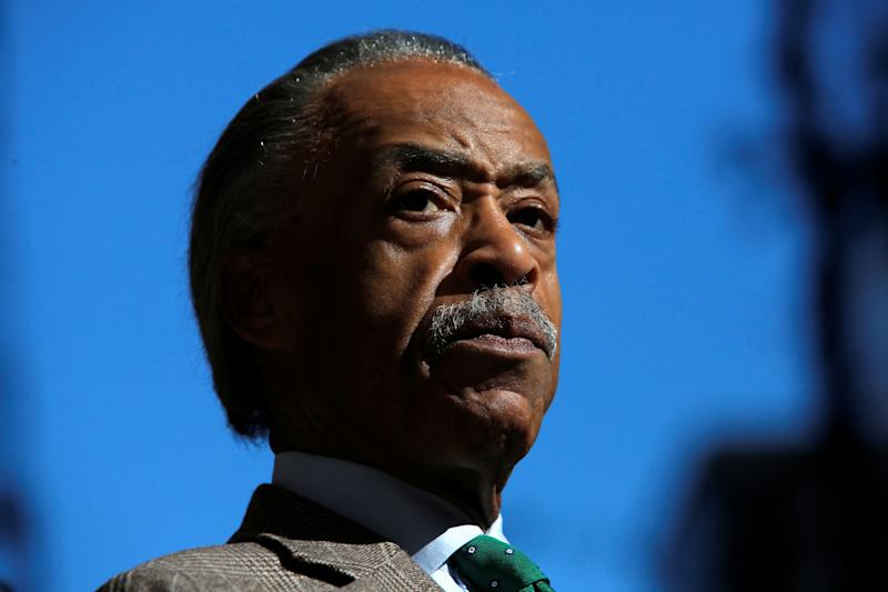 Reverend Al Sharpton delivers remarks to media regarding Sunday's presidential debate and its lack of attention on the situation in Haiti, in Manhattan, New York