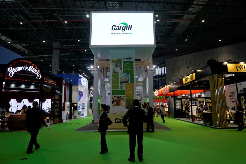 FILE PHOTO: A Cargill sign is seen during the China International Import Expo (CIIE), at the National Exhibition and Convention Center in Shanghai