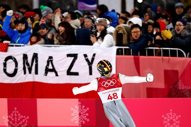 Ski Jumping - Pyeongchang 2018 Winter Olympics - Men's Large Hill Individual Final - Alpensia Ski Jumping Centre - Pyeongchang, South Korea - February 17, 2018. Andreas Wellinger of Germany reacts. REUTERS/Dominic Ebenbichler TPX IMAGES OF THE DAY