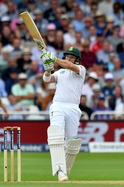 South Africa's Dean Elgar bats at Trent Bridge on July 16, 2017