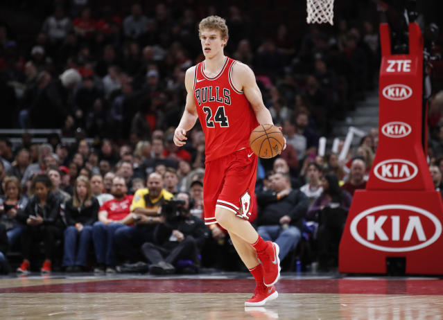 "<a class=""link rapid-noclick-resp"" href=""/nba/teams/chi/"" data-ylk=""slk:Chicago Bulls"">Chicago Bulls</a> forward <a class=""link rapid-noclick-resp"" href=""/ncaab/players/136218/"" data-ylk=""slk:Lauri Markkanen"">Lauri Markkanen</a> has provided much more fantasy value as a rookie than expected. (AP Photo/Kamil Krzaczynski)"