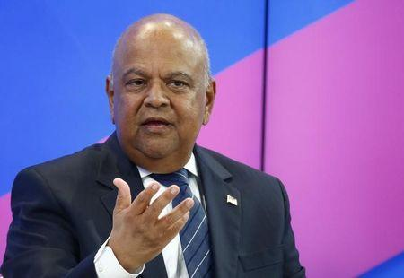 Gordhan Minister of Finance of South Africa attends the WEF annual meeting in Davos