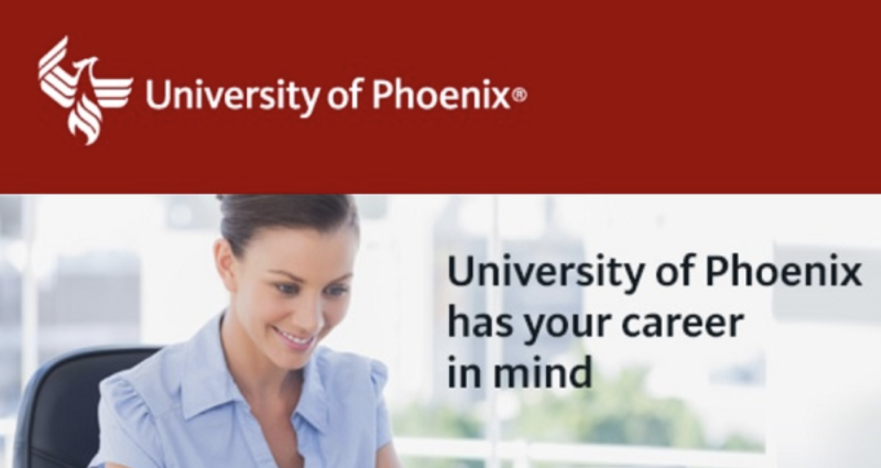 For profit colleges often have slick online advertisements. (Source: University of Phoenix)