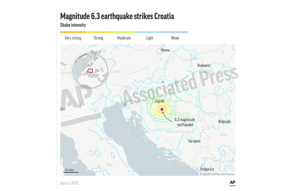 This preview image of an AP digital embed shows the location of the epicenter for a 6.3 earthquake in Croatia. (AP Digital Embed)
