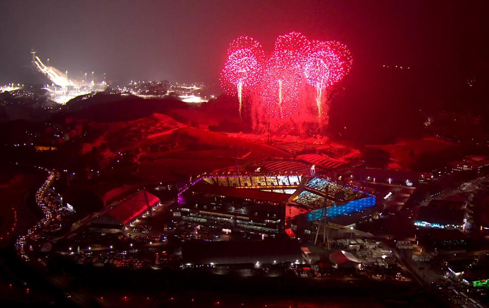 <p>This pool video grab shows fireworks going off during the opening ceremony of the Pyeongchang 2018 Winter Olympic Games at the Pyeongchang Stadium on February 9, 2018. / AFP PHOTO / POOL / OBS-IOC </p>