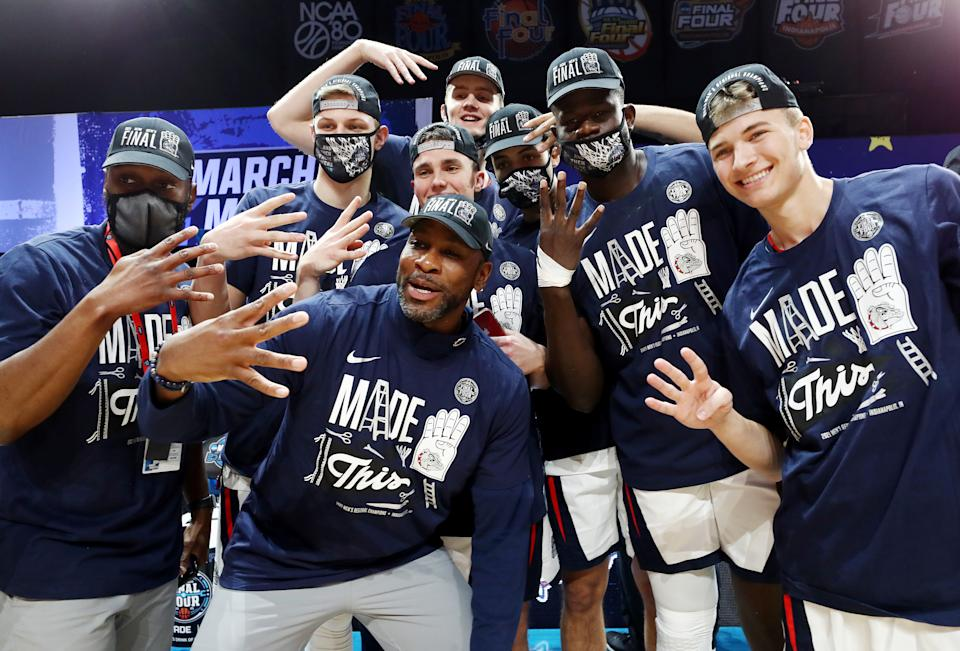 he Gonzaga Bulldogs celebrate defeating the USC Trojans 85-66 in the Elite Eight. (Photo by Jamie Squire/Getty Images)