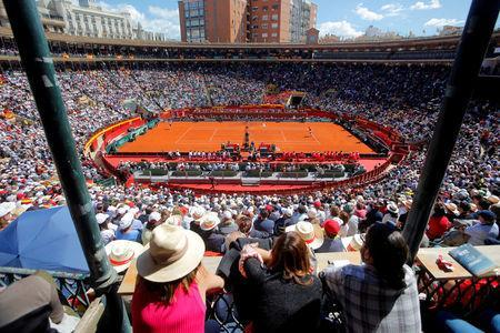 Tennis - Davis Cup - Quarter Final - Spain vs Germany - Plaza de Toros de Valencia, Valencia, Spain - April 8, 2018 General view during the game between Spain's Rafael Nadal and Germany's Alexander Zverev REUTERS/Heino Kalis TPX IMAGES OF THE DAY