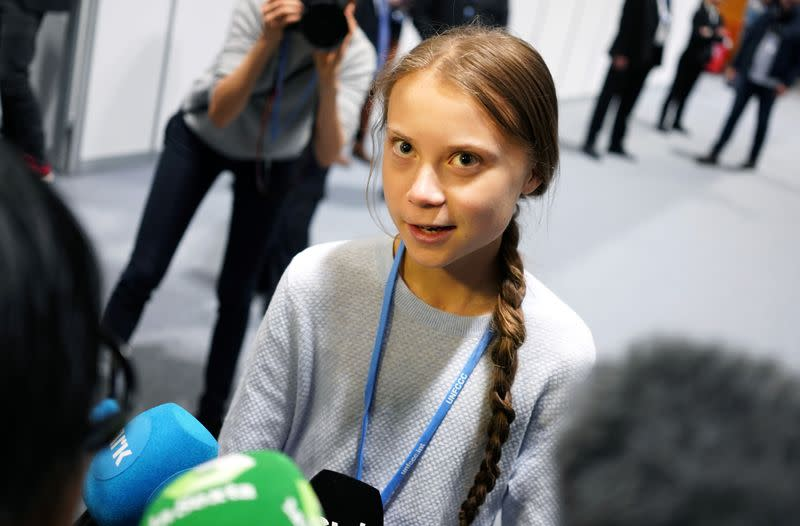 Climate change activist Greta Thunberg speaks to media during COP25 climate summit in Madrid