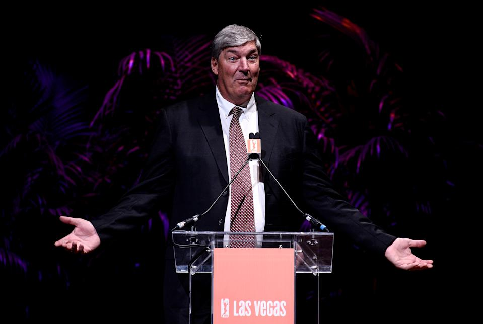 Head coach and President of Basketball Operations Bill Laimbeer speaks during a news conference as the WNBA and MGM Resorts International announce the Las Vegas Aces as the name of their franchise at the House of Blues Las Vegas inside Mandalay Bay Resort and Casino on December 11, 2017 in Las Vegas, Nevada. In October, the league announced that the San Antonio Stars would relocate to Las Vegas and begin play in the 2018 season at the Mandalay Bay Events Center. (Photo by Brandon Magnus/Getty Images)