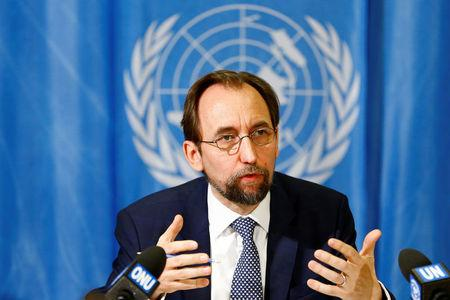 FILE PHOTO: UN High Commissioner for Human Rights Zeid Ra'ad al-Hussein of Jordan speaks during a news conference in Geneva