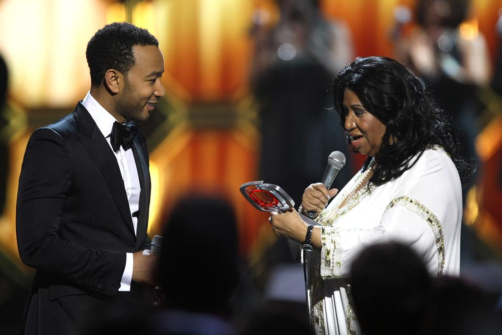 John Legend and Aretha Franklin at the 10th Annual TV Land Awards at the Lexington Avenue Armory on April 14, 2012 in New York City.
