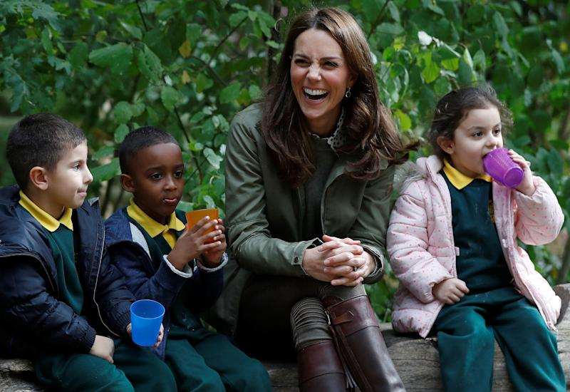 Kate, pictured at Sayers Croft Forest School in October 2018, took six months' maternity leave following the birth of Prince Louis [Photo: Getty]