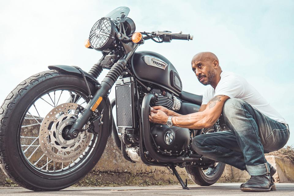 Mr Leal said his family were one of the first black biking families in the UK, and he still rides a Triumph Bonneville to this day. (Edgar Bogdanovas/Wayne Leal)