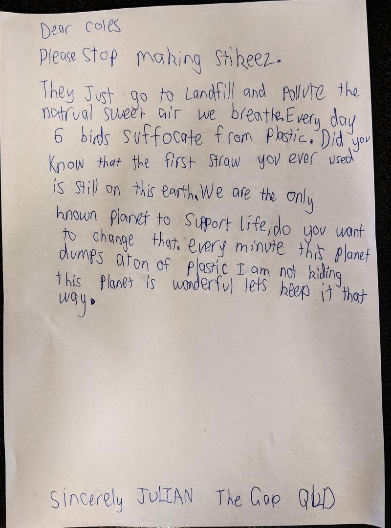 Picture of the letter nine-year-old Julie wrote to Coles, which his mother shared on Facebook