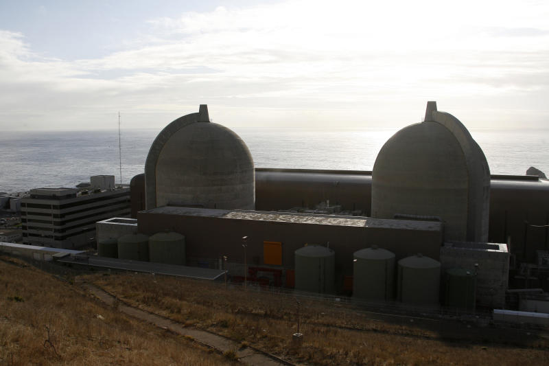 FILE - In this Nov. 3, 2008 file photo, Pacific Gas and Electric's Diablo Canyon Power Plant's nuclear reactors are seen in Avila Beach, Calif. State and federal officials are juggling concerns over endangered whales and other marine life with public safety as they mull over plans to use massive air canons to create new earthquake fault maps in two state marine reserves off the Central Coast. Pacific Gas & Electric Co. wants to use the canons to make maps of shoreline fault zones recently discovered near its Diablo Canyon nuclear power plant. (AP Photo/Michael A. Mariant, File)