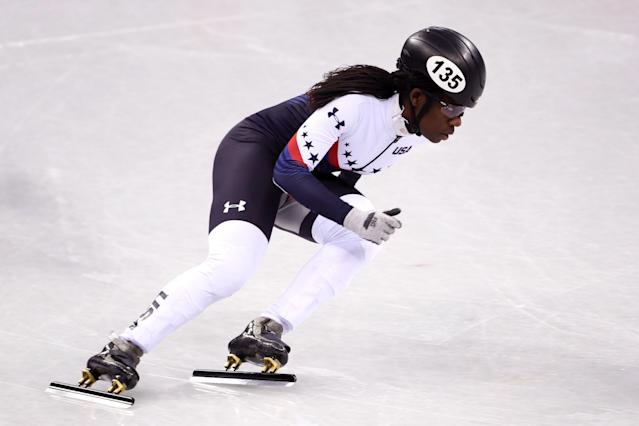 Maame Biney, the first black woman on the U.S. Olympic speedskating team, advanced Saturday in the 500-meter short-track event with a veteran-like performance in the first round at the Winter Olympics. (AP)