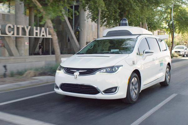 Waymo driverless Chrysler Pacifica on the road