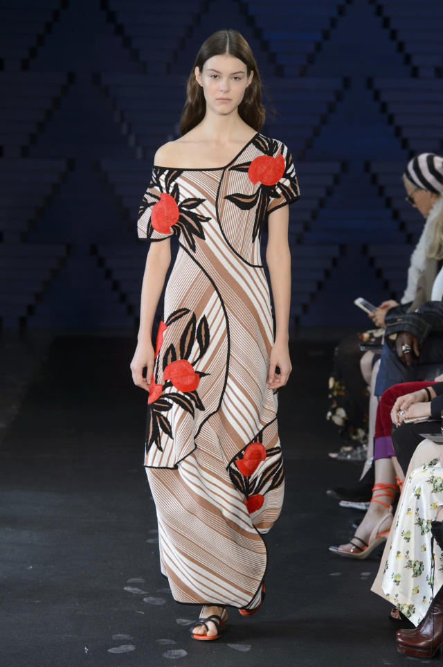 <p><i>Light-brown striped dress with red floral accents from the SS18 collection. (Photo: IMAXtree) </i></p>