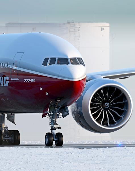 In this artist's concept provided by The Boeing Co. is the 777-9X, the largest of the aerospace company's new family of 777X jetliners. Boeing currently has more than a dozen states in competition from coast to coast offering property, billions of dollars of tax breaks, favorable labor deals and customized employee training hoping that Boeing will choose them to assemble its new 777X jetliner. (AP Photo/The Boeing Co.)