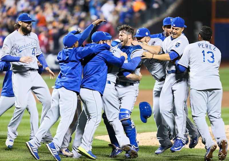 November 1, 2015: The Kansas City Royals celebrate their 7-2 victory over the New York Mets in the 5th and deciding game of the 2015 World Series at Citi Field in Flushing, NY. (Photo by Joshua Sarner/Icon Sportswire) (Photo by Joshua Sarner/Icon Sportswire/Corbis/Icon Sportswire via Getty Images)