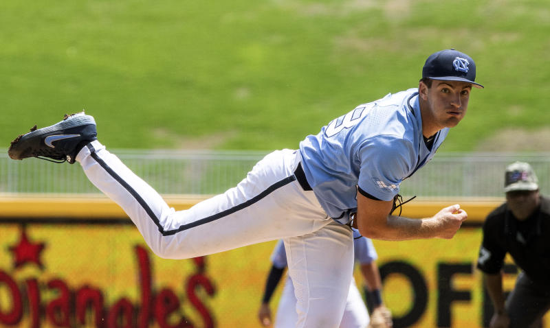 North Carolina's Connor Ollio (48) pitches during the ACC NCAA college baseball championship game against Georgia Tech in Durham, N.C., Sunday, May 26, 2019. (AP Photo/Ben McKeown)