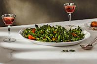 """This elegant salad with sweet, meaty wedges of persimmon contrasting a tangle of peppery greens is part of <em>Gourmet</em> magazine's <a href=""""https://www.epicurious.com/holidays-events/lost-christmas-recipes-of-gourmet-magazine-article?mbid=synd_yahoo_rss"""" rel=""""nofollow noopener"""" target=""""_blank"""" data-ylk=""""slk:lost Christmas menu"""" class=""""link rapid-noclick-resp"""">lost Christmas menu</a>, but it's also perfectly suited to the Thanksgiving table. <a href=""""https://www.epicurious.com/recipes/food/views/watercress-and-persimmon-salad-with-champagne-vinaigrette?mbid=synd_yahoo_rss"""" rel=""""nofollow noopener"""" target=""""_blank"""" data-ylk=""""slk:See recipe."""" class=""""link rapid-noclick-resp"""">See recipe.</a>"""