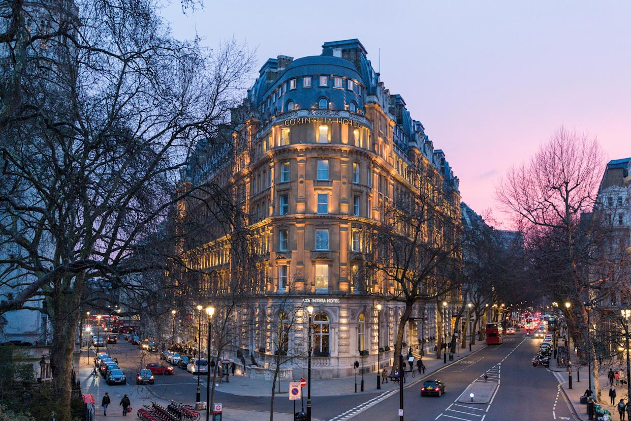 London, England - April 07, 2018 - The Corinthia Hotel was opened in 2007 after being used as another hotel in the past and also as a government building.