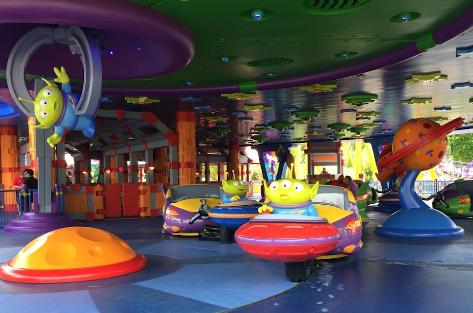 Alien Swirling Saucers is tucked away in Andy's backyard at Toy Story Land.