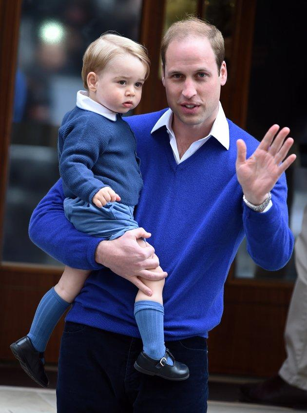 Duke of Cambridge and Prince George arrived at the Lindo Wing at St. Mary's Hospital on 2 May 2015 when Princess Charlotte was born.
