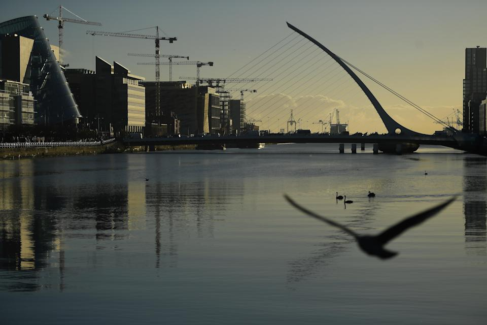 """Dublin's financial district. A no-deal scenario would """"profoundly exacerbate"""" the problems of Brexit for Ireland. Pic: Reuters"""