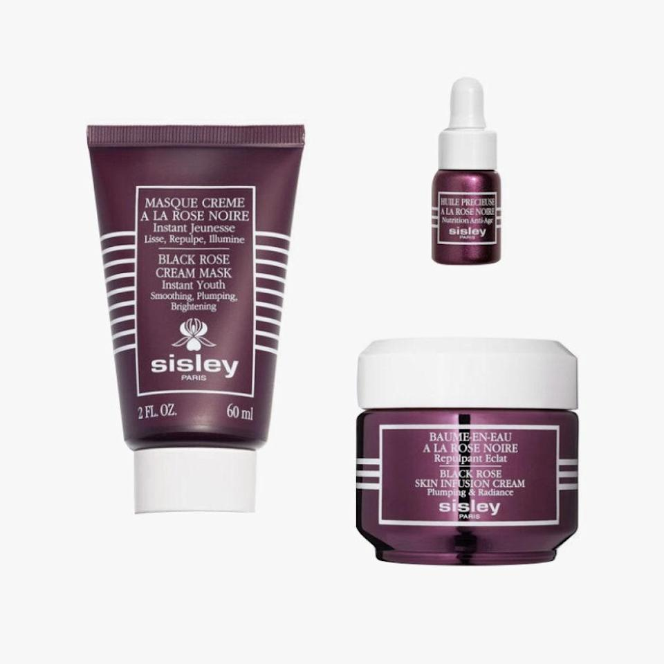 "After using this trio of skin-saving products, they'll feel like they've spent the day at a spa. $200, OLIVELA. <a href=""https://www.olivela.com/products/sisley-paris-the-joy-set-black-rose-skin-infusion-set-609216"" rel=""nofollow noopener"" target=""_blank"" data-ylk=""slk:Get it now!"" class=""link rapid-noclick-resp"">Get it now!</a>"