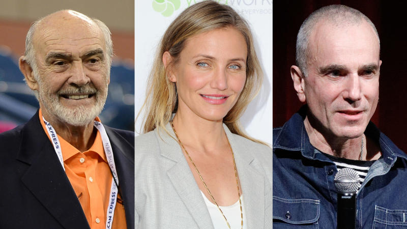 Sean Connery, Cameron Diaz and Daniel Day-Lewis have all said goodbye to acting. (Credit: Uri Schanker/WireImage/Jon Kopaloff/FilmMagic/Lars Niki/Getty for AMPAS)