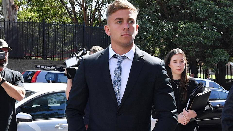 Callan Sinclair, co-accused with Jack de Belin, pictured here arriving at Wollongong District Court.