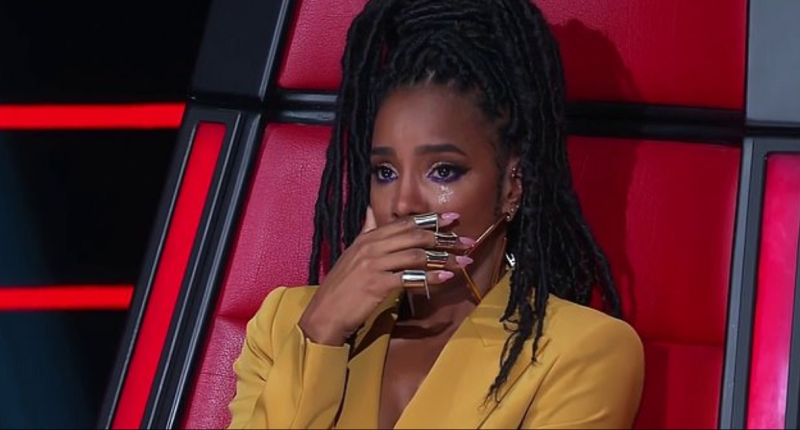 The Voice coach Kelly Rowland was left unable to speak after The Koi Boys' performance. Photo: Channel Nine
