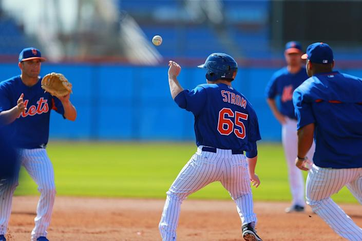 <p>New York Mets minor league prospects participate in rundown drills at the Mets spring training facility in Port St. Lucie, Fla., Monday, Feb. 27, 2017. (Gordon Donovan/Yahoo Sports) </p>