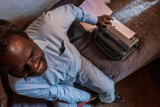 Jetro Gonese and his braille typewriter. South Africa's anti-coronavirus lockdown has had a devastating impact on the visually impaired