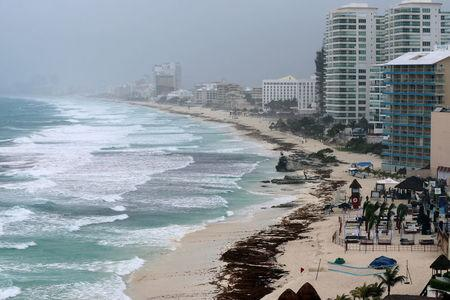 A general view shows an empty beach as subtropical storm Alberto approaches Cancun