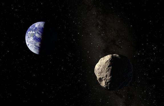 An artist's illustration of asteroid Apophis near Earth. The asteroid will fly extremely close to Earth in 2029, and then again in 2036, but poses no threat of hitting the planet.