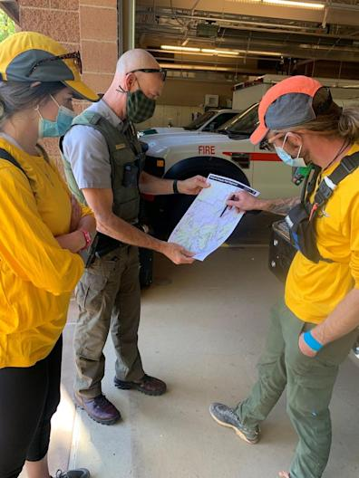 The Search and Rescue Team with the Incident Command Team organize to find missing person, Holly Susanne Courtier, reported missing on October 6, 2020.