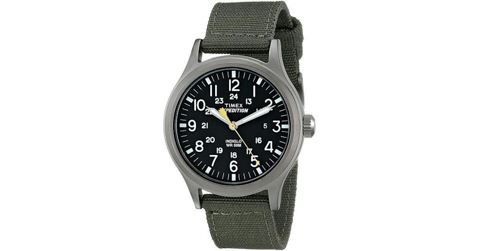 """<p><strong>Timex</strong></p><p>amazon.com</p><p><a href=""""https://www.amazon.com/dp/B00HYUSWPE?tag=syn-yahoo-20&ascsubtag=%5Bartid%7C2139.g.36477804%5Bsrc%7Cyahoo-us"""" rel=""""nofollow noopener"""" target=""""_blank"""" data-ylk=""""slk:BUY IT HERE"""" class=""""link rapid-noclick-resp"""">BUY IT HERE</a></p><p><del>$57.00</del><strong><br>$41.30</strong></p><p>Big plans this year or not, you need a watch that can hold up. Built with the outdoors in mind, this is one of the <a href=""""https://www.menshealth.com/style/g34776563/best-timex-watches/"""" rel=""""nofollow noopener"""" target=""""_blank"""" data-ylk=""""slk:best Timex watches"""" class=""""link rapid-noclick-resp"""">best Timex watches</a> that's water-resistant, lights up, and is held together by a fabric strap that doesn't mind getting dirty. </p>"""