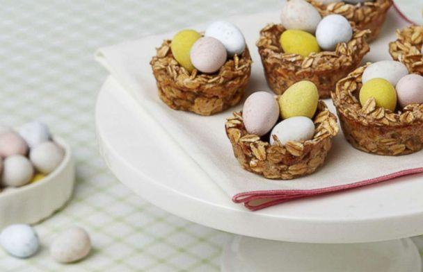 PHOTO: Banana Oatmeal Nests, a fun dessert using Cadbury Mini Eggs, is photographed here. (The Hershey Company)